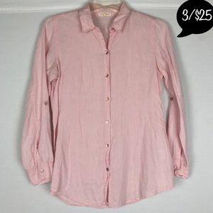 Eileen Fisher Irish Linen Long Sleeve Button Front